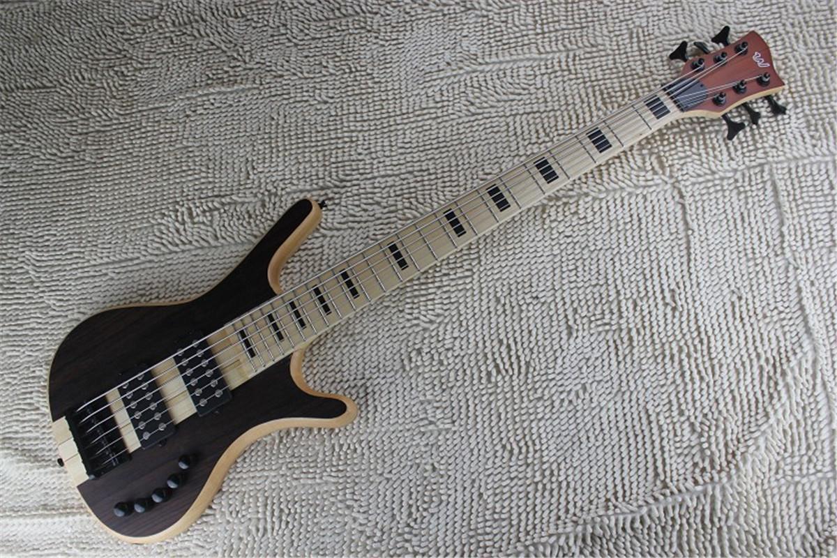 qualité en gros 2020 nouvelles 6 cordes basses brun foncé micros actifs basse électrique guitare