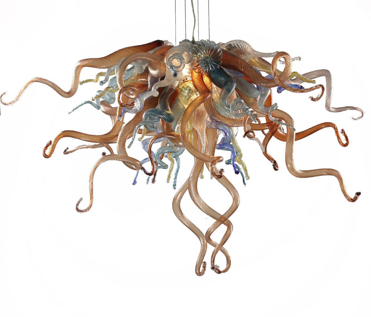 100% ручной работы выдувного муранского стекла Люстра Light Mini Дешевые Чихули Стиль стекла на заказ Светодиодные лампы Висячие Chain Главная Люстра