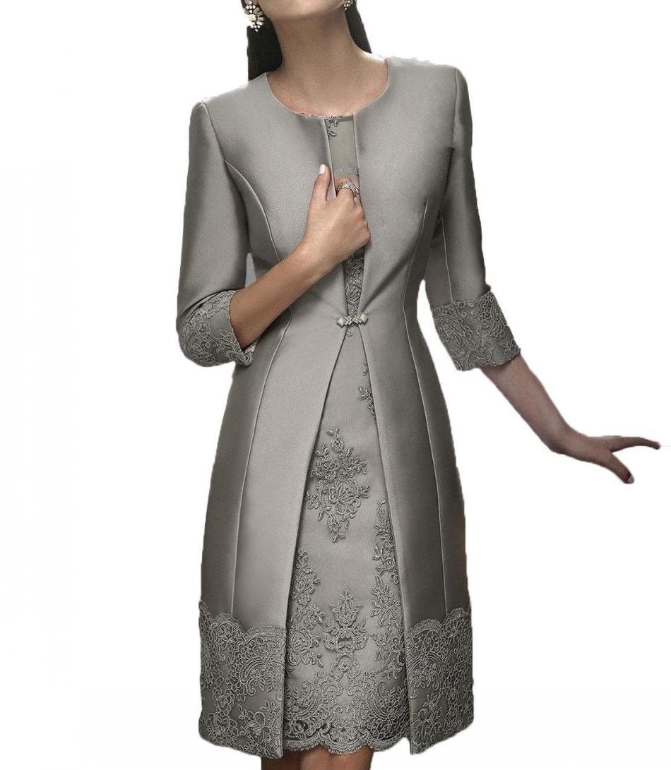 Vintage Plus Size joelho Mãe Off The Bride Groom Plus Size ternos casaco longo apliques de renda de casamento Vestidos de Clientes
