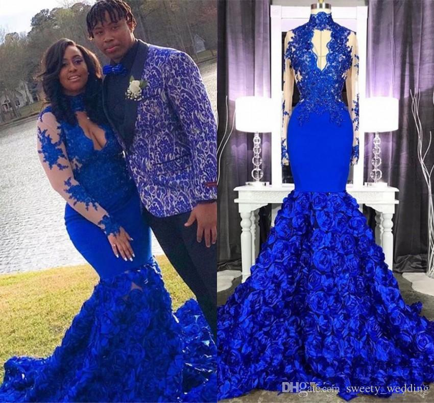 Stunning 3D Rose Flower Royal Blue Prom Dresses 2019 High Neck Sheer Long  Sleeve Applique Mermaid Junior Prom Evening Gowns Plus Size Juniors Prom ...