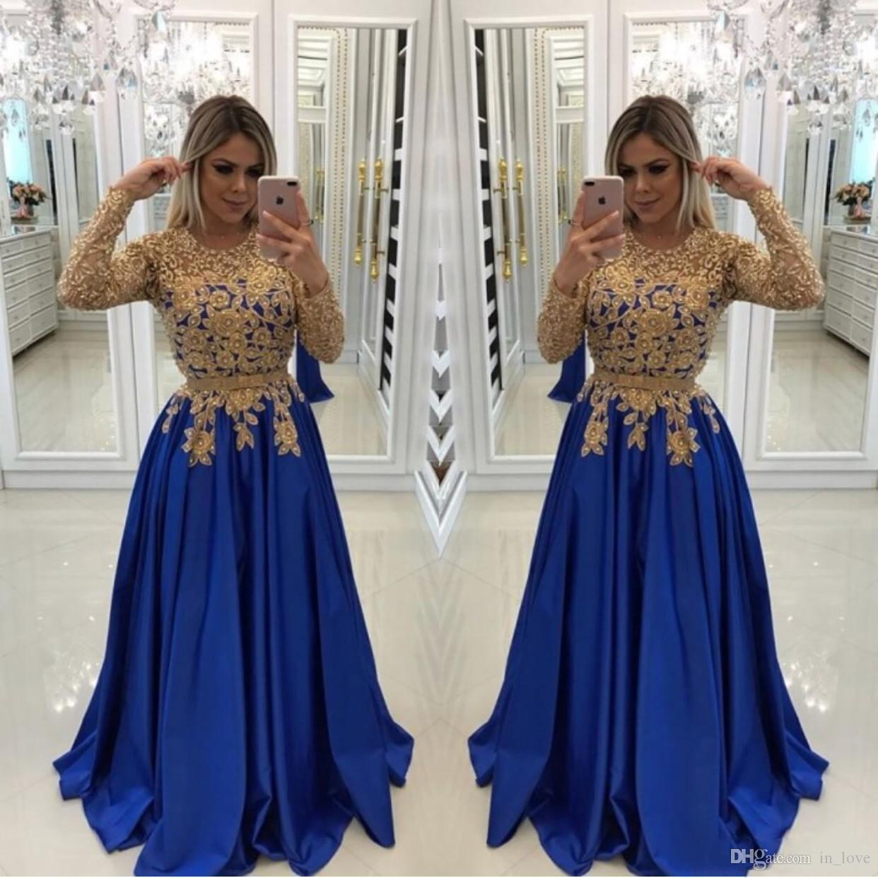 Or dentelle royale bleu robes de bal manches longues Appliques à la main une ligne longueur de plancher robes de soirée, personnaliser plus la taille