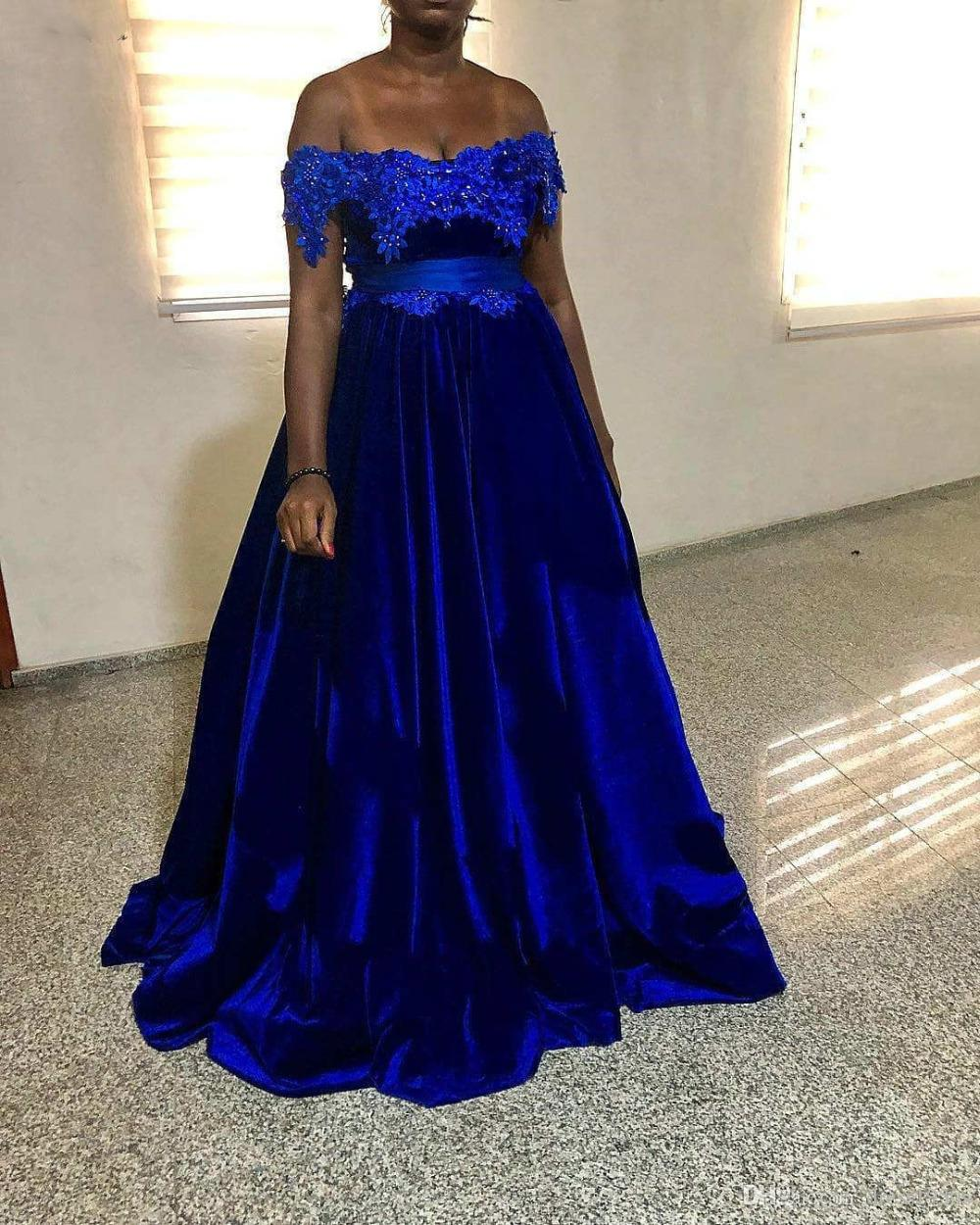 Abiti Da Sera On Line.Royal Blue Velvet Prom Dresses Appliques Empire A Line Floor