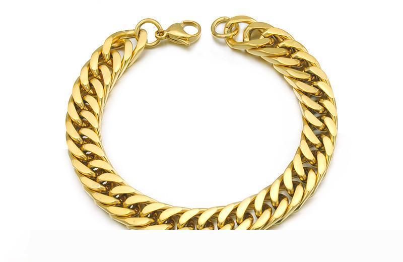 """Placcati oro braccialetti dell'acciaio inossidabile Curb catena cubana Mens Fashion Jewellery, 8.7"""" lungamente, 10mm largo, commercio all'ingrosso di trasporto, WB003"""