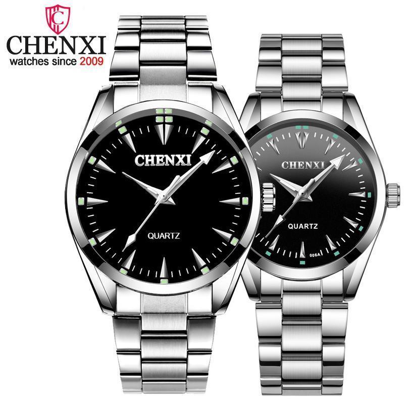 CHENXI Brand Fashion Luxury Кварц Lover пару часов Классический простой серебряный из нержавеющей стали Мужчины и Женщины Часы Orologi Coppia