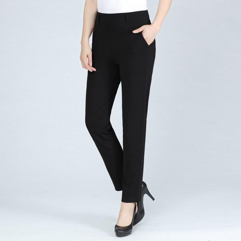 2018 Pantalon Mom Automne d'âge moyen Pantalons femme Pantalon taille élastique Elasticité taille plus Vêtements Automne Minceur Straight-l