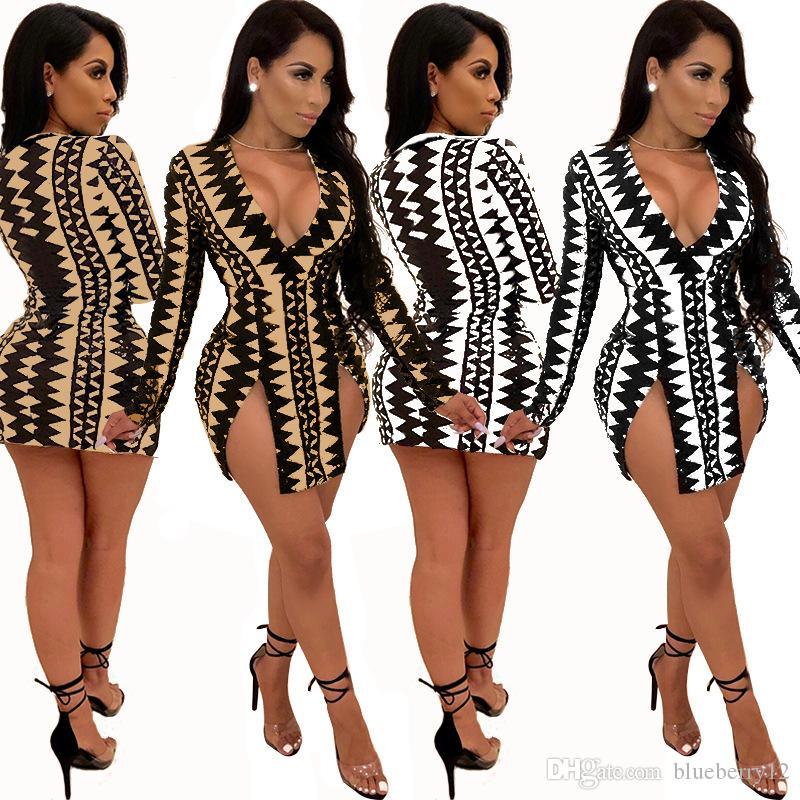 핫 섹시한 여자 슬림 V 넥 디지털 인쇄 붕대 Bodycon의 플 런지 슬릿 파티 Clubwear 캐주얼 미니 드레스