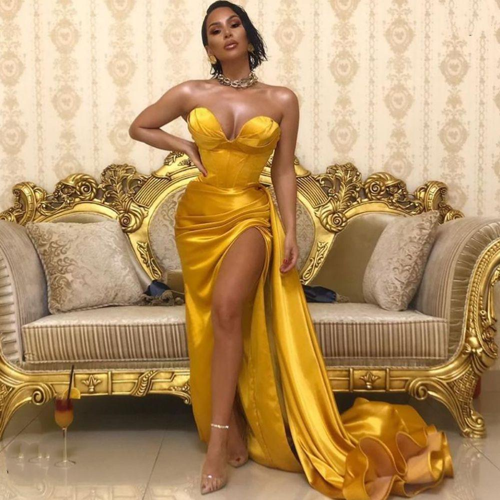 Abiti da ballo per sirena d'oro 2020 Semplice sexy Slitta laterale Sweetheart Senza maniche Abiti da sera Serale Abbigliamento da parti formali