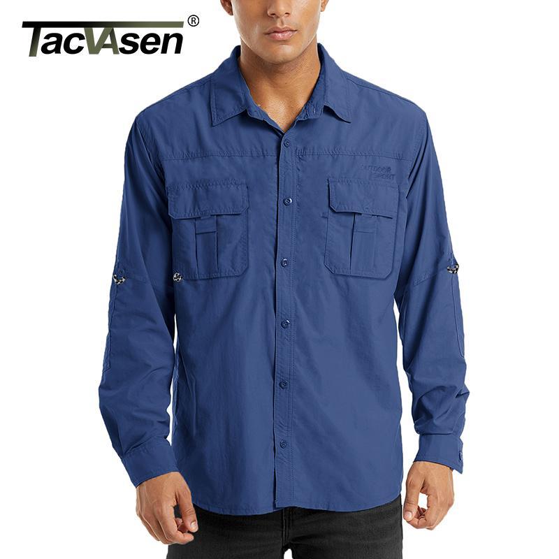 Carga de trabajo Camisas TACVASEN hombres del verano tácticos rápida camisas Ligera Multi-bolsillos de la ropa de los hombres de los pescados del alza