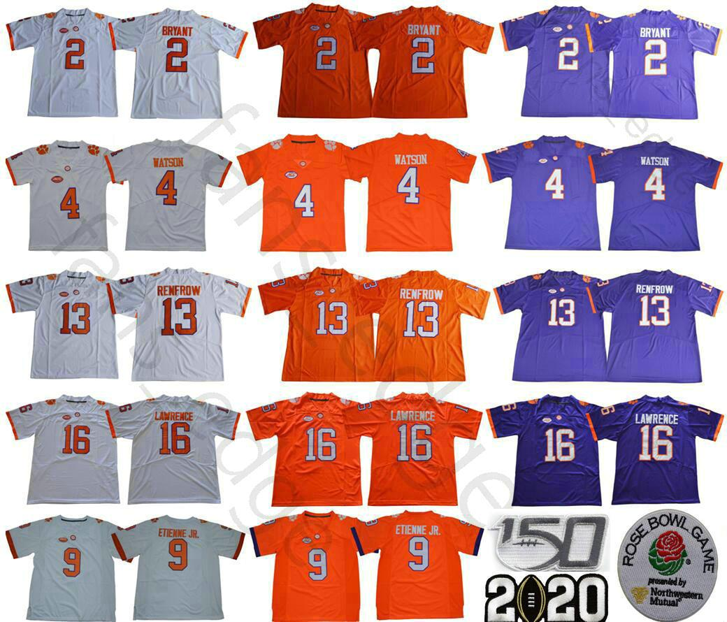 NCAA Clemson Tigers College 2 Kelly Bryant 4 Deshaun Watson 9 Travis Ethienne Jr. 13 Охотник Renfrow 16 Trevor Lawrence 150-й футбольные майки