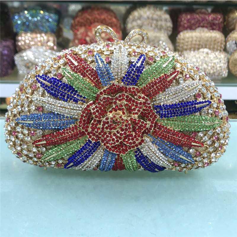 Flor de Cristal Moda de Nova embreagem bolsa e da bolsa fêmeas cristais de diamante Embreagens Mulheres Evening Bag para o casamento Handmades-