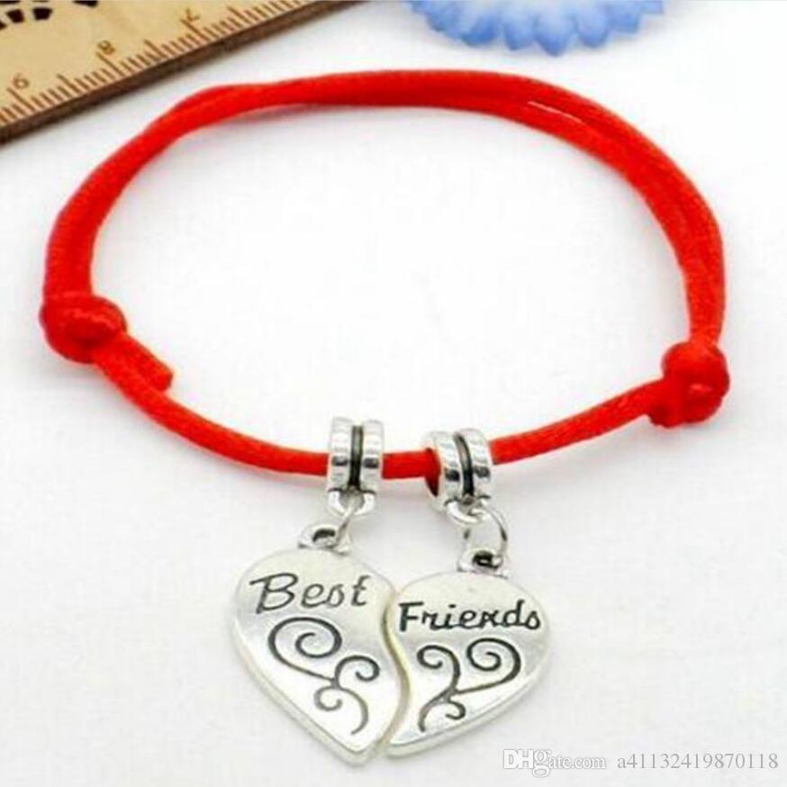 Antica forma d'argento Best Friend separabile Cuore cavo Charm stringa braccialetto Lucky Red monili del progettista braccialetto registrabile amico migliore regalo