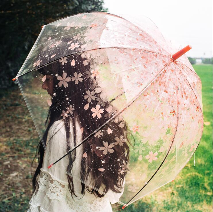 Apollo Вишневого цвета Зонтики Clear Cute Bubble Глубокий купол зонтик Сплетня Ветер Resistance Зонт Бытовой Sundries Зонт LXL237-A