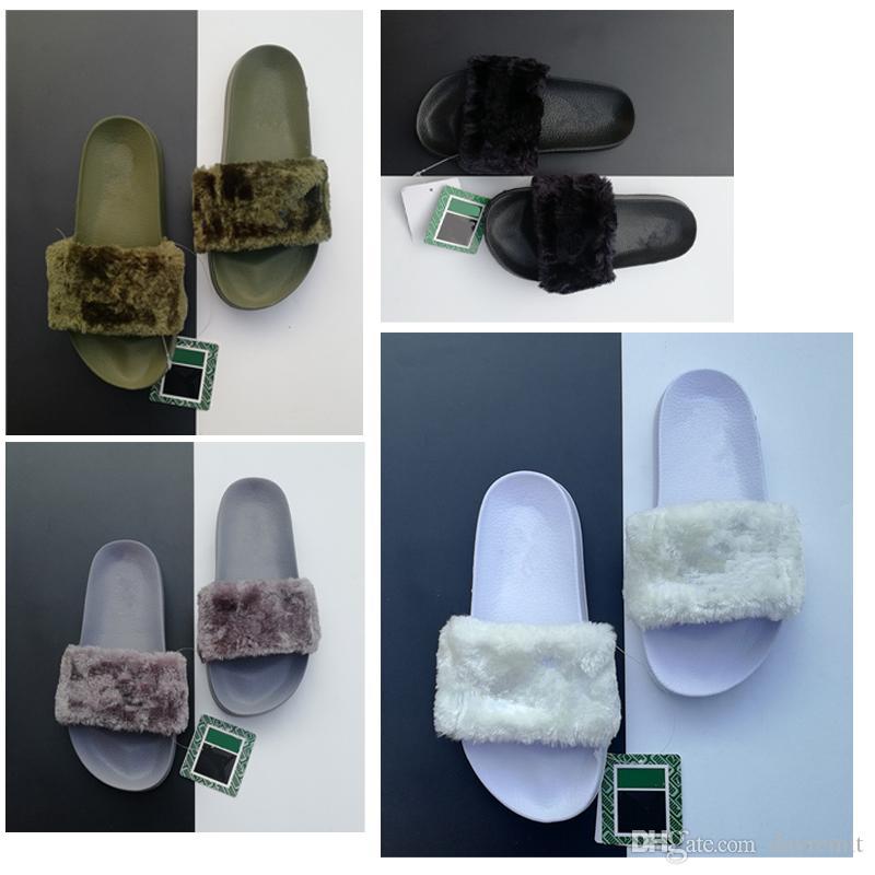 2019 Qualita superior del diseñador Zapatos Leadcat Fenty Rihanna para las mujeres sandalias de los deslizadores de interior de mujer Ropa para desgastes negro del rosa piel gris Diapositivas
