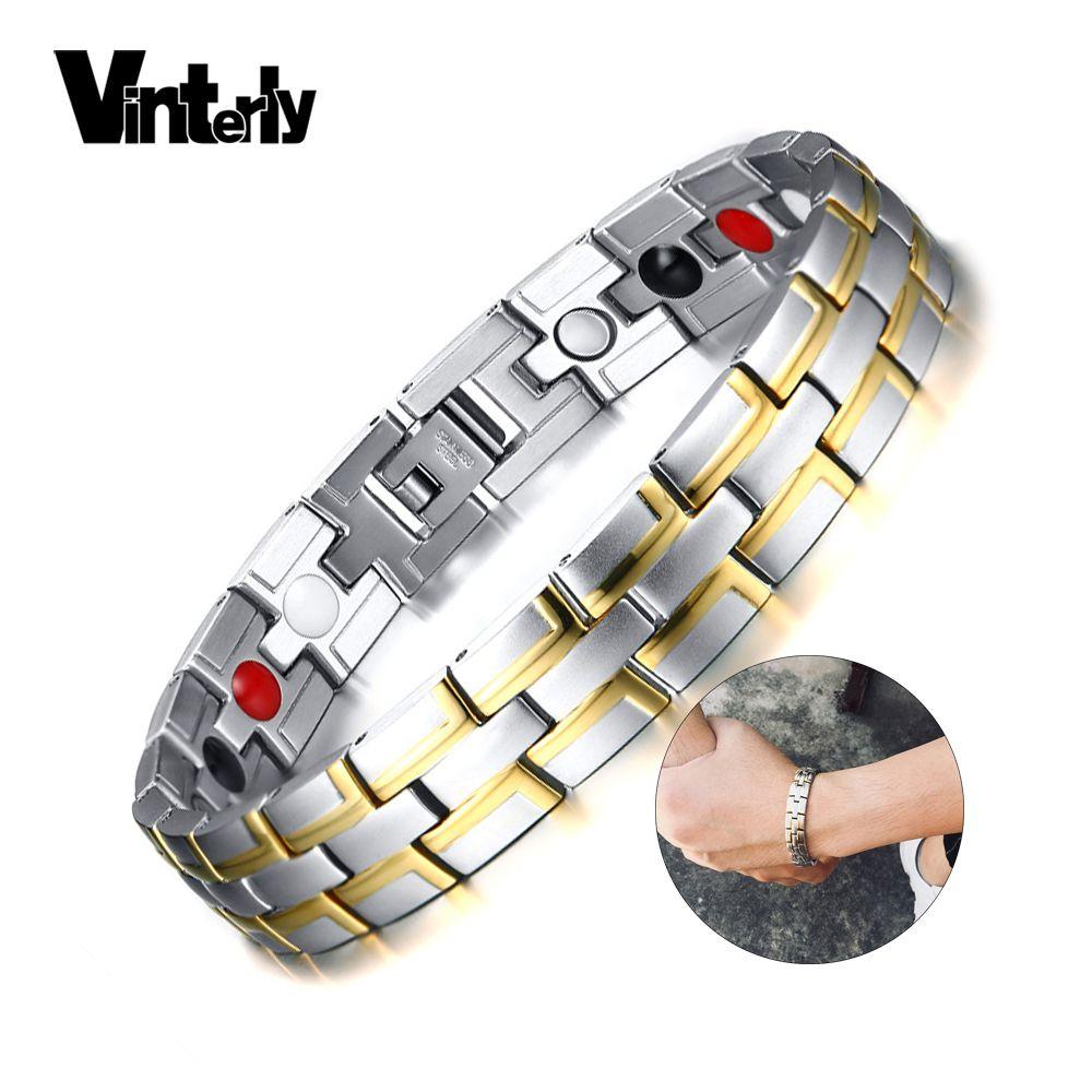 Vinterly Magnet-Armband Mann-Edelstahl-Goldfarbe Kette Energie-Armband-Mann-Handgelenk-Band Magnetic Charm Armband für Frauen