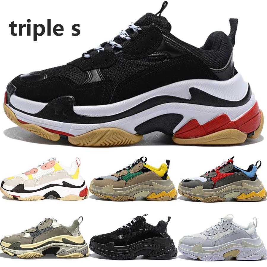 Free Shipping 2020 Hot sale triple s men women designer shoes black white red grey fashion luxury sneakers dad shoes 36-45