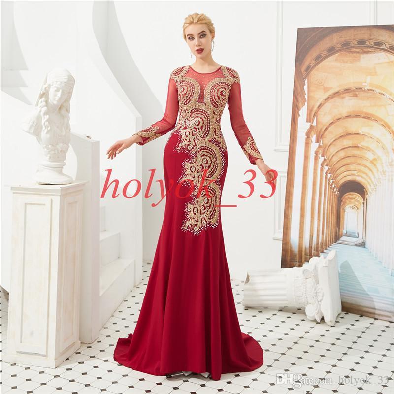 Sirena roja Vestidos de noche Mangas largas Vestido de fiesta con cuentas de cristal 2019 Vestido de noche formal Vestido de fiesta de tul Vestido de fiesta