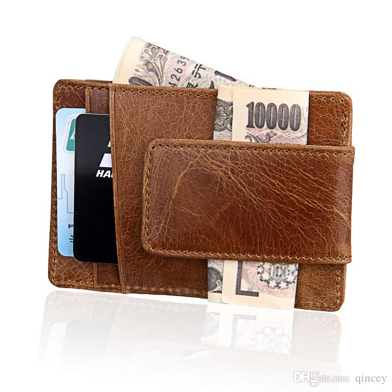 Front Pocket Wallet Money Clip Leather RFID Blocking Strong Magnet thin Wallet