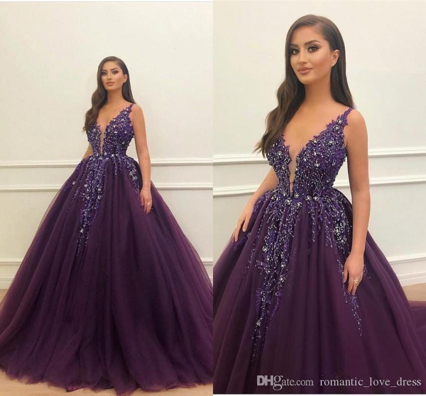 Tul de color púrpura oscuro de la princesa vestidos de baile 2020 que vende New encargo caliente de Bling Bling de los granos del tirante de espagueti atractivo del partido de tarde Vestidos formales de P030