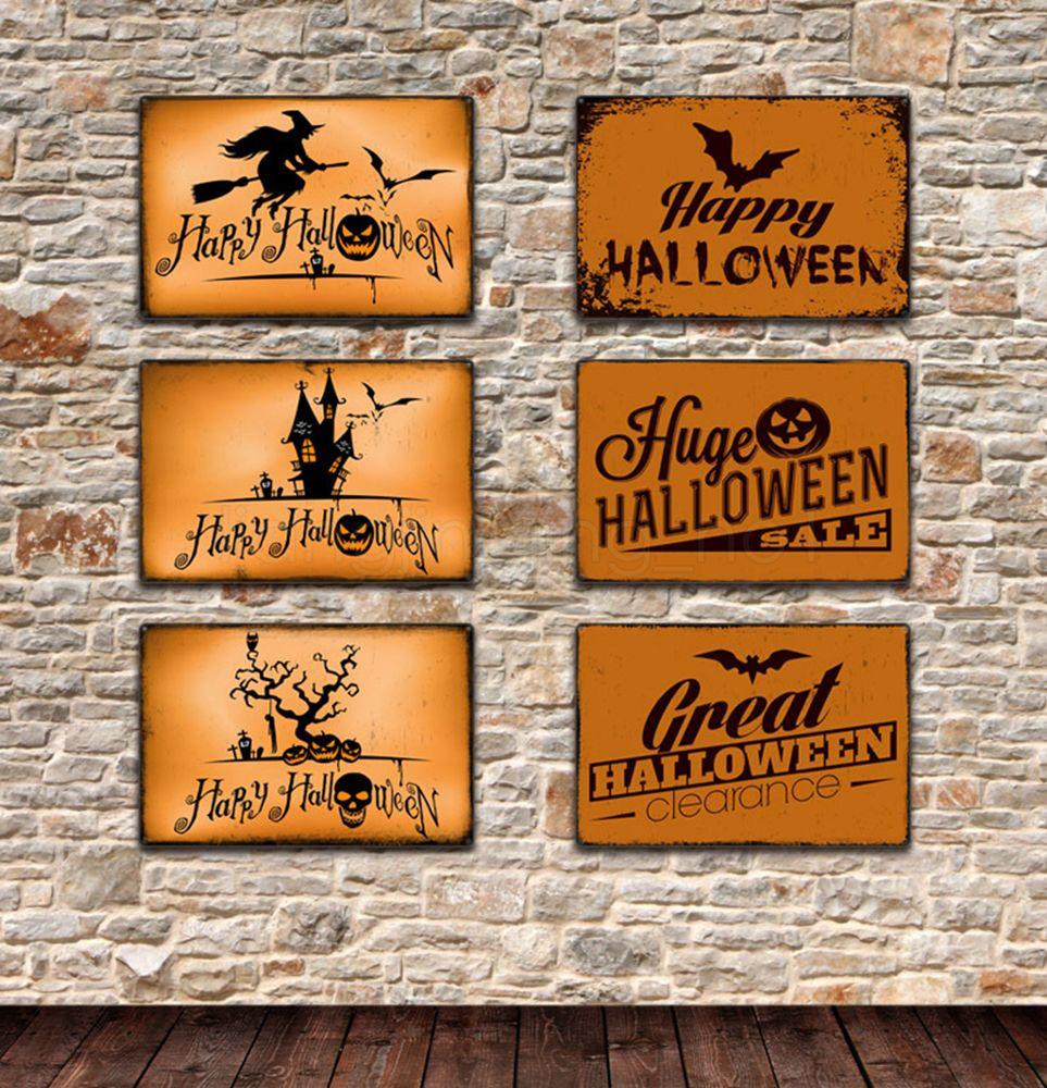 6styles de Halloween Carteles de chapa de calabaza Vintage retro arte de la pared de chapa por Muro de placas de hierro Pintura Café Bar restaurante Decoración 20 * 30 FFA2937