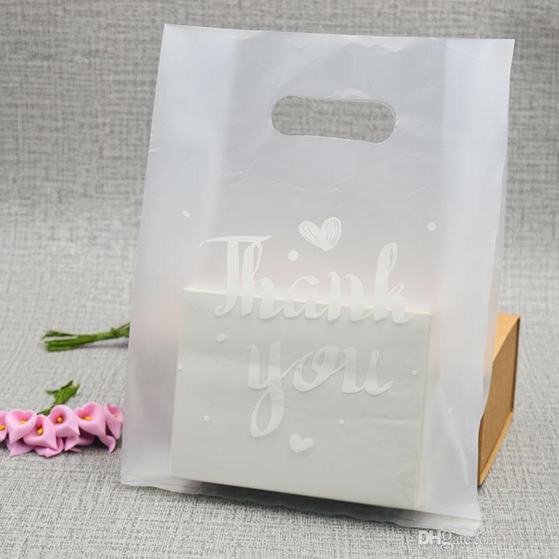 100pcs التي / 1 لوط شفافة أكياس بلاستيكية، شكرا الأكياس البلاستيكية، وأكياس التجزئة زفاف لصالح حزب لمربعات XD23023