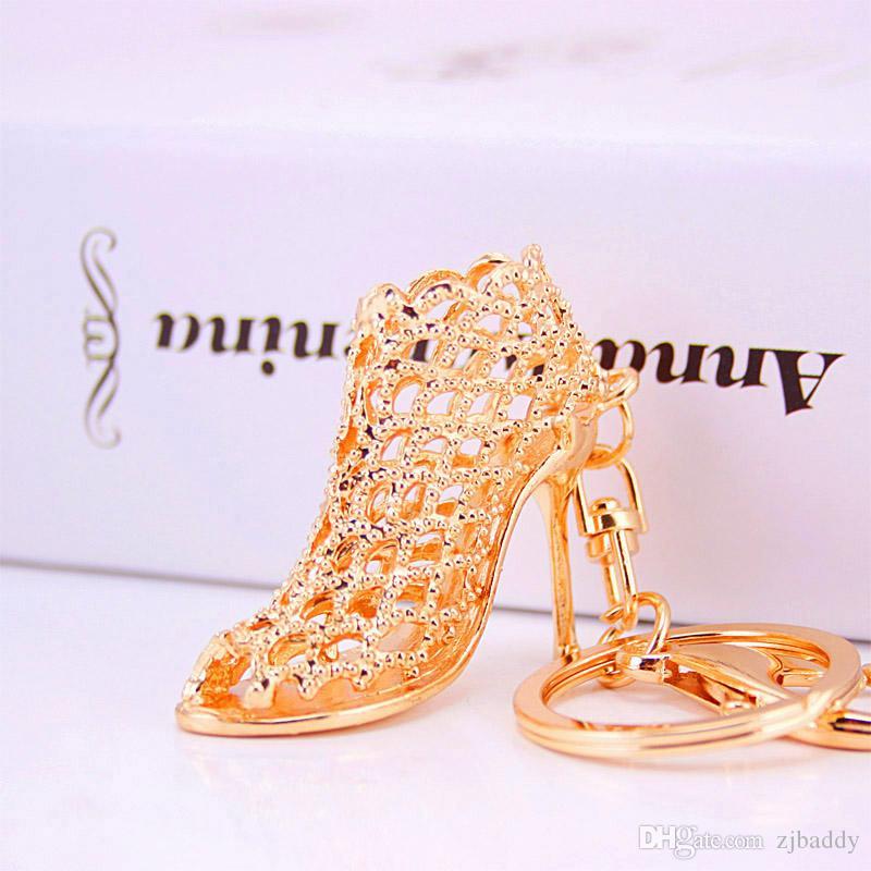 Bridal Shower Favour High Heel Shoe Keychain Rhinestone Car Key Rings Women Handbag key holder Girl Bag Pendant Jewelry Christmas party