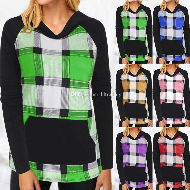 Mom Sweatshirts Long Sleeves Plaid Pullovers Patchwork Lattice Hoodies Spring Maternity Tops 6 Colors S/M/L/XL/2XL M858