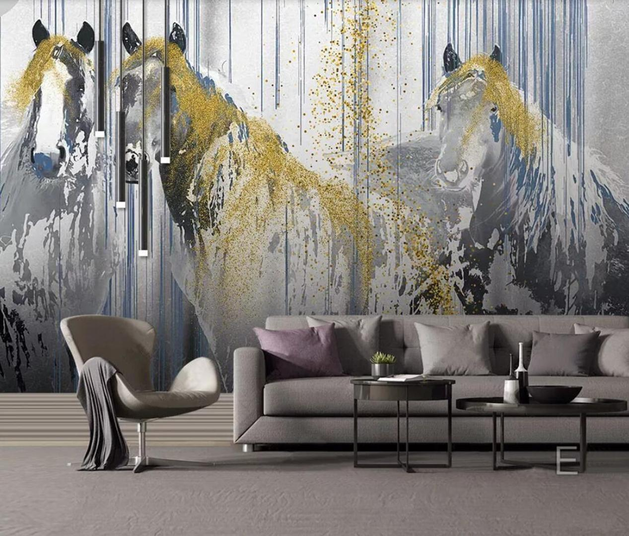 Abstract Gold Horse Wallpaper 3d Mural Picture For Living Room Canvas Print Art Wall Paper Hand Painting Contact Paper Wallpapers Download 3d Desktop Wallpaper From Douglass 18 61 Dhgate Com