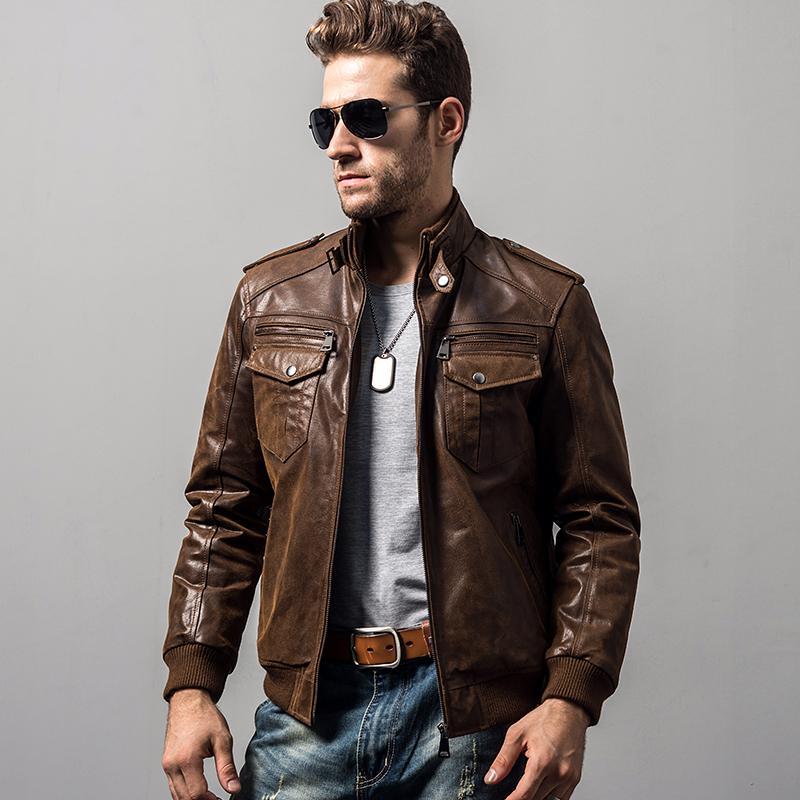 coton veste cuir véritable moto de peau de porc rembourrage hommes chaud manteau d'hiver mâle veste en cuir véritable