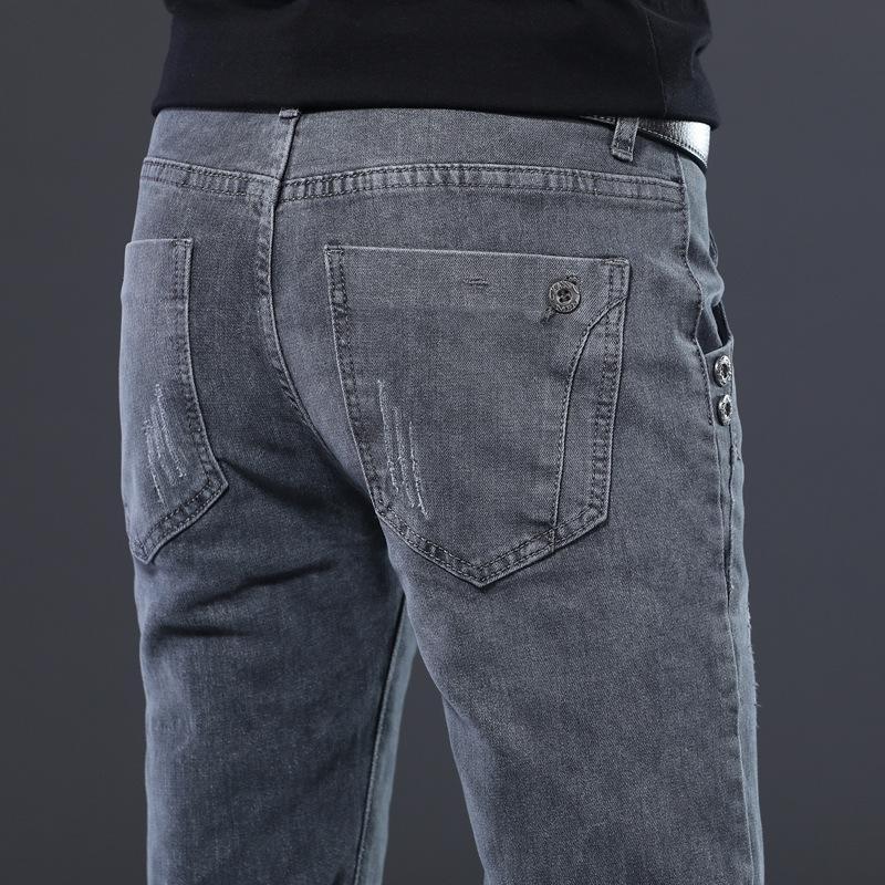 Adam Moda Orta bel Jeans Yüksek Elastikiyet İnce Pantolon ile 2020 Yeni Erkek Denim Jeans Düz Tam Boy Pantolon