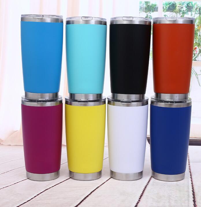 20 oz 600 ml Deportes tazas de metal ancha Copa botella de agua de la boca de acero inoxidable con aislamiento Vasos Tazas de cerveza de café al aire libre taza del viaje GGA3112-7