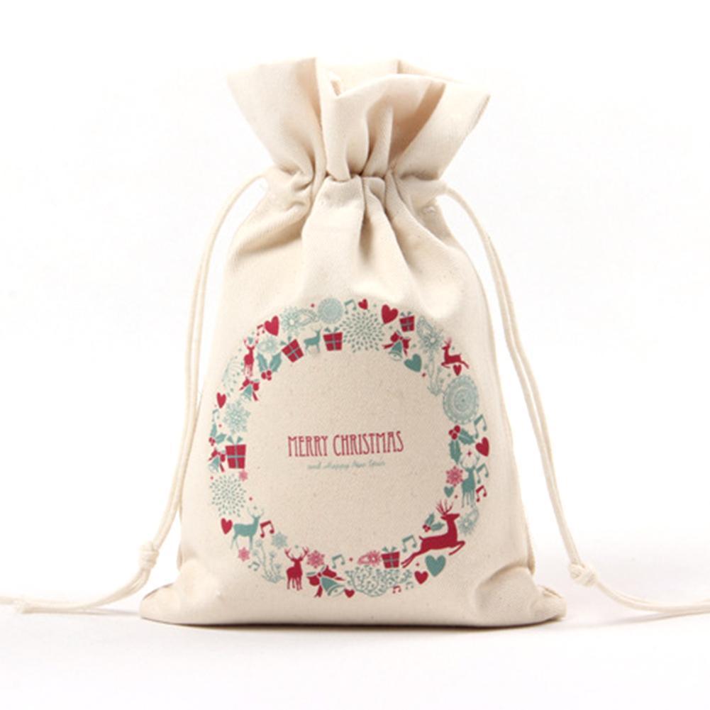 1pc Sacchetti regalo natalizi Portaoggetti per la casa Borsa in stoffa con coulisse Lotto Sacchetti regalo per Babbo Natale Sacchetto di caramelle di Natale Buon Natale