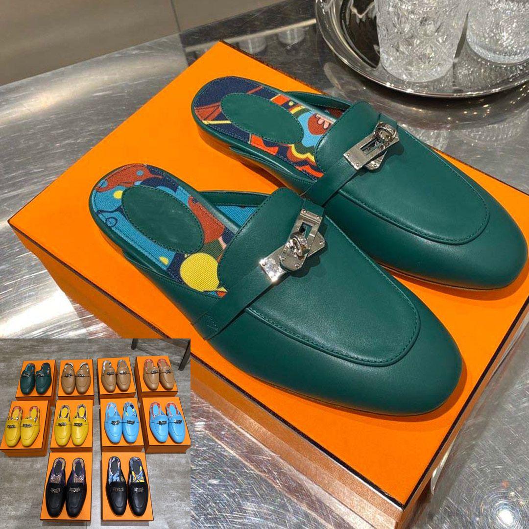 Горячая 20SS Новые Женщины Плоский рыболова обувь Классическая кожа Половина Drag 3D Повседневная обувь Дизайнерские Сандалии Тапочки Письмо флип-флоп Слайды