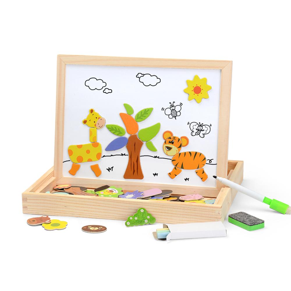 100pcs Magnetic Figure /animals/ Vehicle /circus Troupe Painting Board 5 Styles Puzzle Box Wood Toy Baby Gift Sticker Q190530
