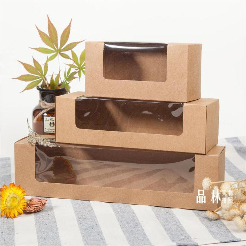 20pcs kraft paper pvc plastic window Macarons box, Kraft paper gift cookies cake packaging box,rectangle biscuits pastry box CY200523