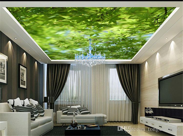 거실 소파 침실 3D 스테레오 큰 벽화에 대한 사진 벽지 벽 녹색 벽 3 차원 벽 벽지를 단풍