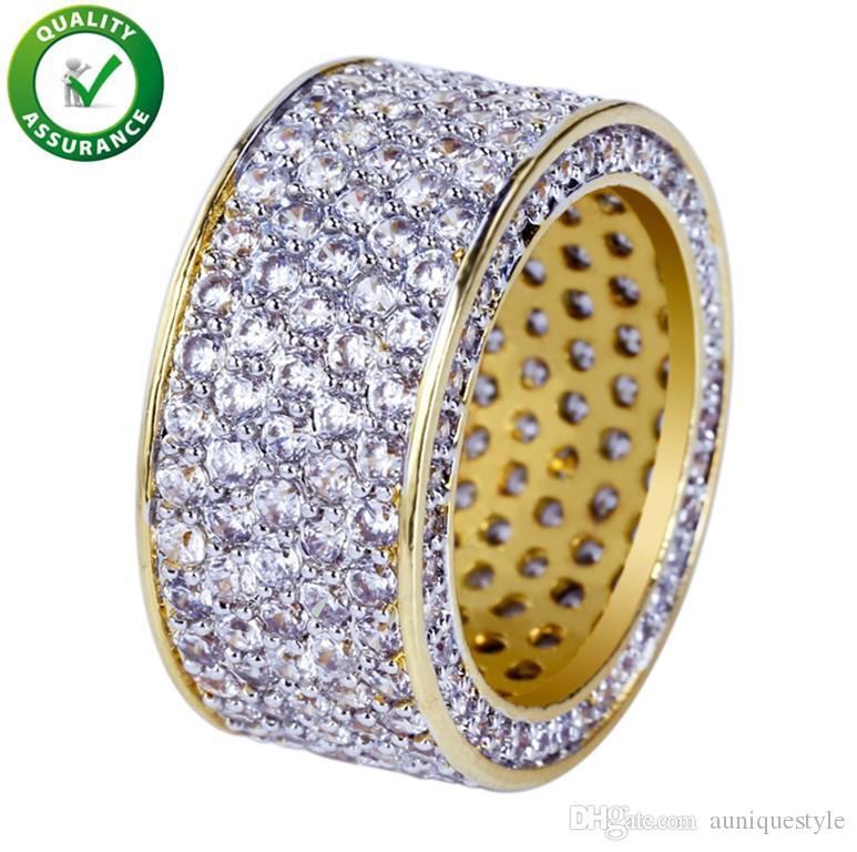 Hip Hop Jewelry Mens Gold Ring Iced Out Anelli Micro Pavimenta Zircone cubico Promessa Diamond Finger Rings Luxury Designer Brand Personalità regalo