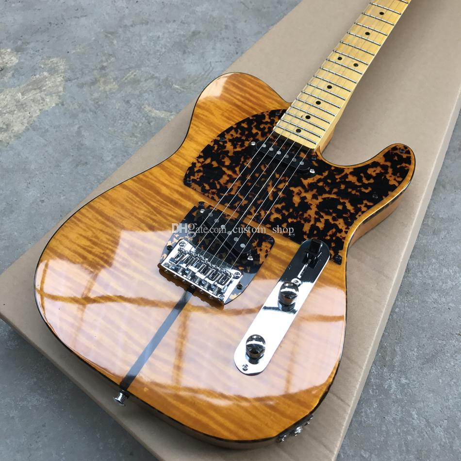Prince HS Anderson Hohner Madcat Mad Cat Tele Amber Yellow Flame Maple Top Guitar Guitar Leopard Pickguard، Dual Red Turtle Body Binding