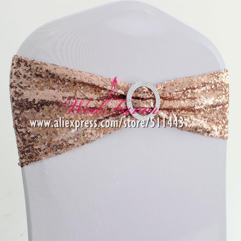 Boucle ronde 50pcs Lycra Spandex Chaise Sequin Couverture Sash bandes élastiques fauteuil extensible Glitter Bow Ties Hôtel Party Décor de mariage