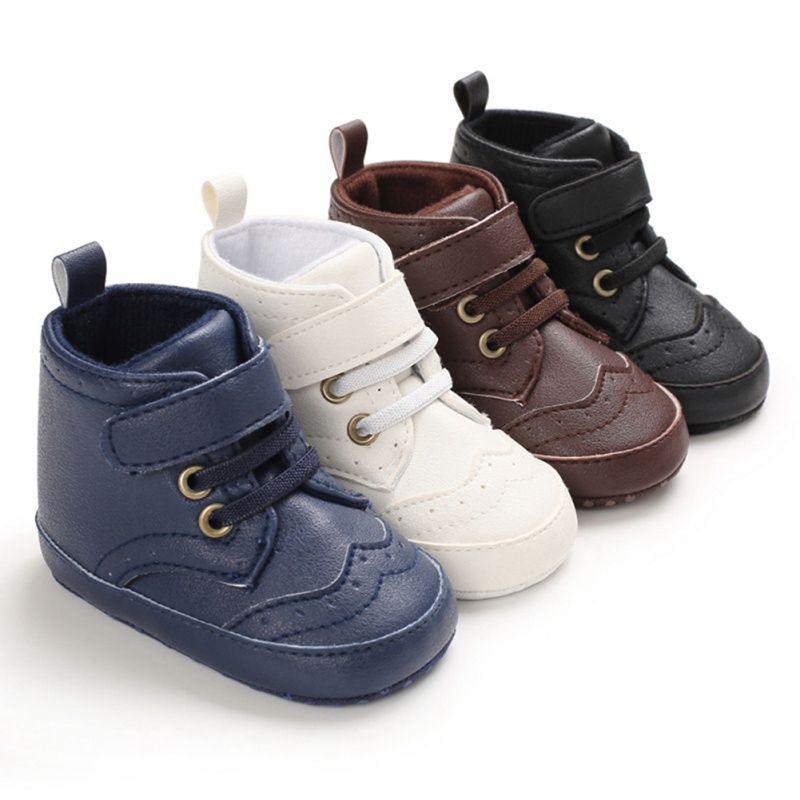 0-18M Niños bebés recién nacidos clásico Zapatos de la PU ocasionales de cuero del niño con cordones de los primeros caminante Caminar