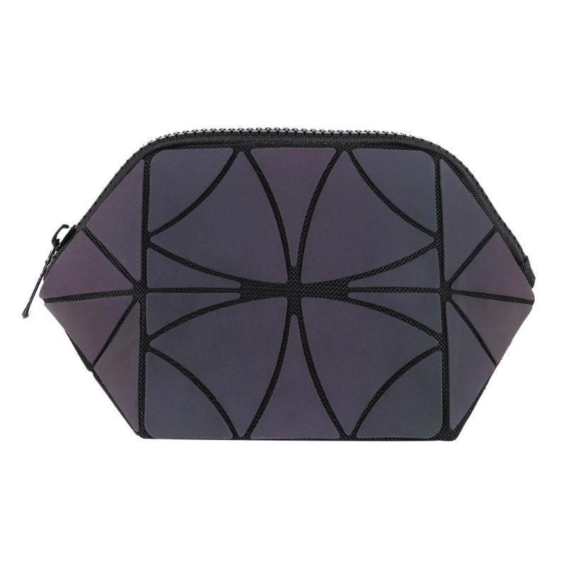 Women Irregular Geometric Lattice Makeup Bags Travel cosmetic organizer bag Luminous Folding Makeup Beauty Bag 2019 New
