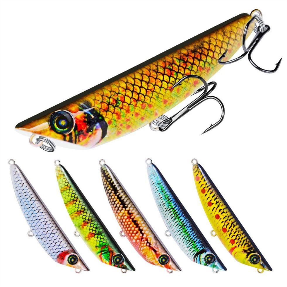 Mixed 6 colore 8,3 centimetri 9g Popper duro adesca i richiami 6 # amo da pesca Ganci ami artificiale di plastica esche Pesca Attrezzatura di pesca Accessori