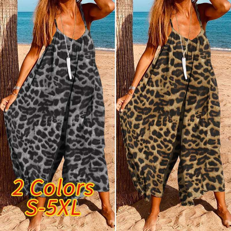 Womens Wide Leg Rompers 2020 VONDA Summer Sleeveless Jumpsuits Vintage Leopard Printed Loose Overalls Plus Size Playsuits