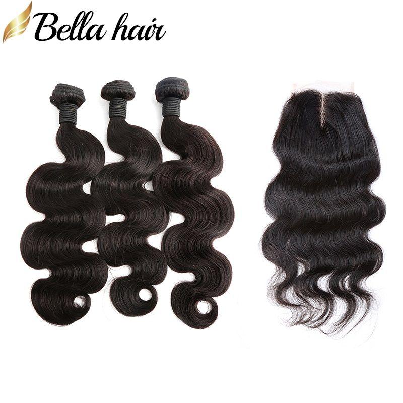 Bellahair hårbuntar med spetsavslutning kroppsvåg hår väftförlängningar och topplås 4x4 gratis del 3pcs brasilianska jungfruliga hårväv