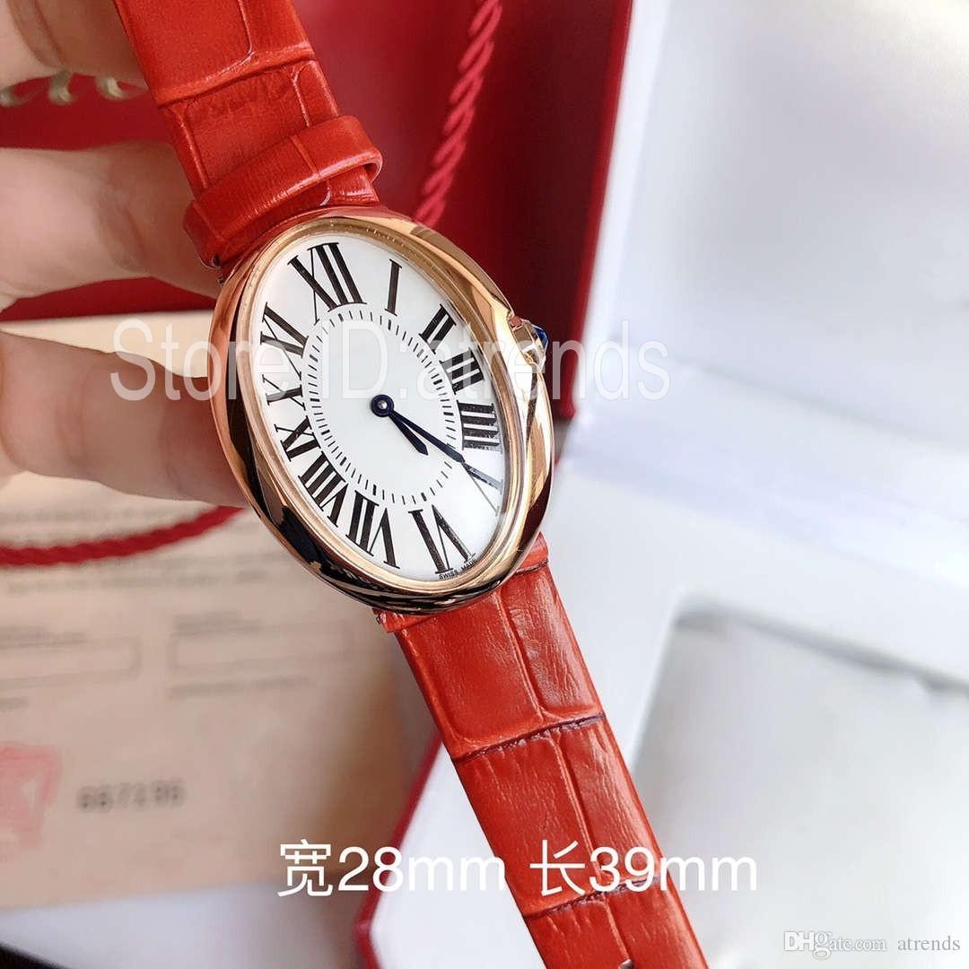 Новые Лучшие моды Кварцевые часы Женщины Золото Серебро Циферблат овальный дизайн Повседневный WristWatch дамы Элегантный кожаный ремешок часы 1907