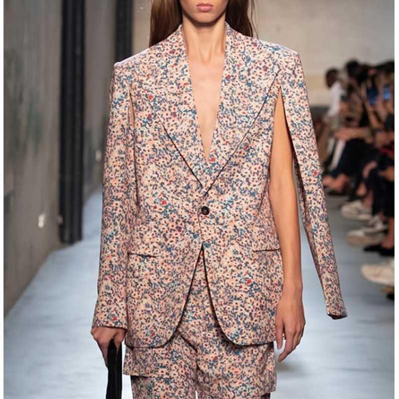 6.11 2020 Summer New High end Women Flower Prints Single Button Chic Design Split Blazer Coat For Ladies Fashion Jacket Coat