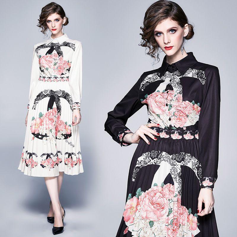 Novas senhoras Floral Designer Vestidos das Mulheres Moda Lanterna Sleeve Pista de Camisas Janne-Comprimento Vestido Plus Size Office Designer Plissado Dress