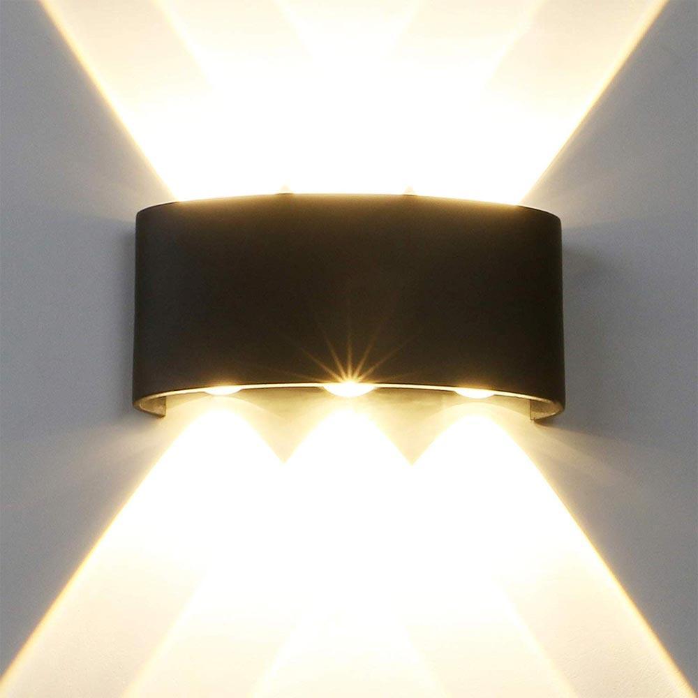 BRELONG LED IP65 방수 벽 조명, 6W 220V 벽 램프 4000K 알루미늄 합금 실내와 실외 벽 램프 블랙