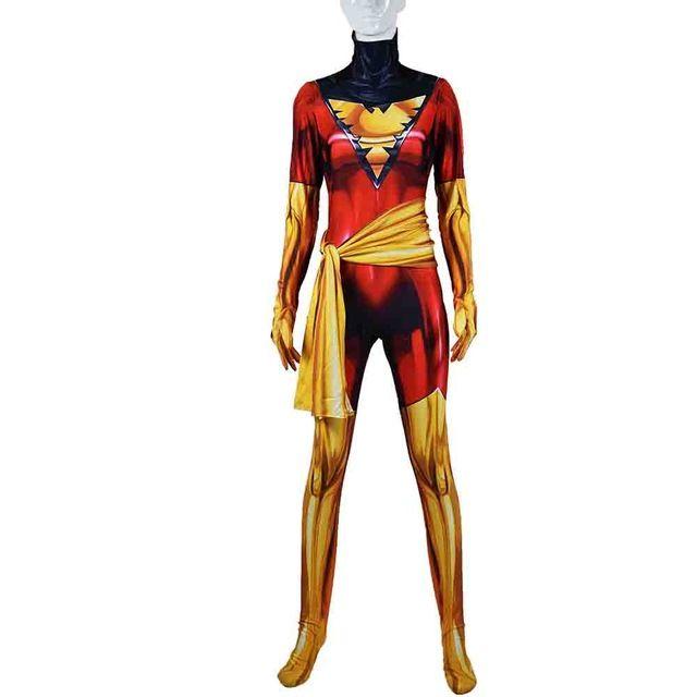 Phoenix Jean Grey Cosplay Costume 3D Spandex Zentai Bodysuit for Woman//Kids