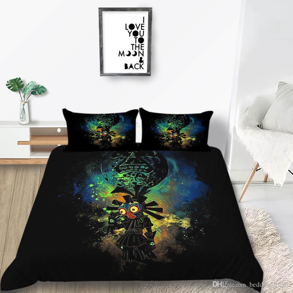 Yastık kılıfı ile Yerli Yatak Seti Kral Karikatür Gizemli Klasik Nevresim Kraliçe Artistik İkiz Tam Tek Kişilik Yumuşak Yatak Örtüsü