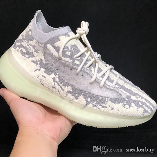 С коробкой 2020 Новый релиз 380 V3 Citrin чужеродных Mist Static Kanye West Black Green Мужчины Женщины кроссовки Мода Спорт Sneaker